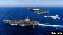 USS Carl Vinson tại vùng biển Thái Bình Dương hồi đầu năm nay.