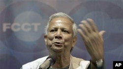 FILE - Nobel Peace laureate and a 2009 recipient of the Presidential Medal of Freedom from U.S. President Barack Obama, Mohammad Yunus speaks at the Foreign Correspondents Club, in Bangkok, Thailand, Aug. 19, 2009.