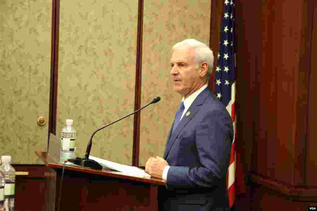 Bradley Byrne, Co-Chair Congrssional Singapore Caucus, during 40th Anniversary Cebration of the US-ASEAN Partnership at Capitol Visitor Center on Tuesday May 16, 2017. (Seourn Vathana/VOA Khmer)