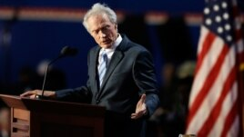 Actor Clint Eastwood speaks to an empty chair on the final night of the convention, August 30, 2012.