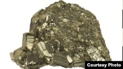 """Pictured here is the mineral iron pyrite. Also known as """"Fool's Gold."""" Don't be fooled. (Smithsonian, Museum of Natural History)"""
