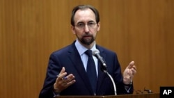 U.N. High Commissioner for Human Rights Zeid Ra'ad al Hussein is seen speaking in a June 24, 2015, photo.