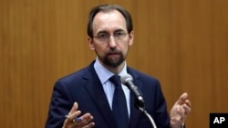 FILE - U.N. High Commissioner for Human Rights Zeid Ra'ad Al Hussein says Central African Republic's U.N. peacekeepers and local authorities must take on armed groups more robustly in order to stop abuses.