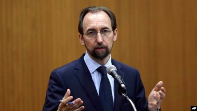 FILE - U.N. High Commissioner for Human Rights Zeid Ra'ad Al Hussein says all discussions of migration policy are grounded in the need to protect the human rights of all migrants.