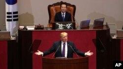 Donald Trump s'adressant à l'Assemblée nationale sud-coréenne, Séoul, Corée du Sud, le 8 novembre 2017.