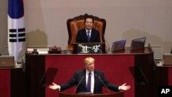 ABŞ prezidenti Donald Tramp Cənubi Koreya parlamenti qarşısında çıxış edir