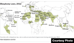 A map, compiled by Pew Research, of nations in the Middle East, Europe, Africa and Asia that still have blasphemy laws on the books (courtesy Pew Research Center)