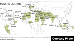 A map, compiled by Pew Research, of nations in the Middle East, Europe, Africa and Asia that still have blasphemy laws on the books. (Courtesy Pew Research Center)
