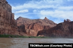 The Colorado River winds through Utah's canyon country.