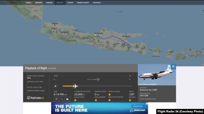 Pesawat Antonov tercatat terbang di atas langit Jawa.