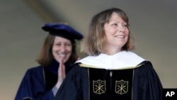Jill Abramson, former executive editor of The New York Times, receives an honorary Doctor of Humane Letters degree at Wake Forest University in Winston-Salem, N.C., May 19, 2014.