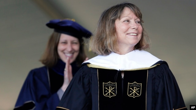 Jill Abramson, former executive editor of The New York Times, receives an honorary Doctor of Humane Letters degree during the commencement ceremony at Wake Forest University in Winston-Salem, N.C., May 19, 2014.