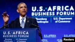 美國總統奧巴馬在非洲商貿論壇上發言