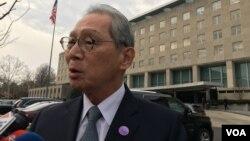 台灣駐美代表高碩泰2019年2月6日在美國國務院對面街角受訪(美國之音鍾辰芳拍攝)