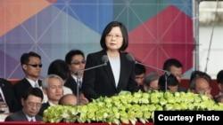 蔡英文发表演说,重申两岸交流,但呼吁大陆正视中华民国(台湾总统府官网截图)
