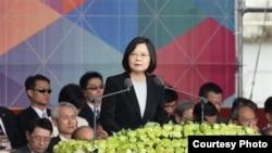 台灣總統蔡英文發表演說,重申兩岸交流,但呼籲大陸正視中華民國(台灣總統府官網截圖)