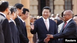 South Africa's President Jacob Zuma (R) is introduced to the Chinese delegation by China's President Xi Jinping (C) during a working visit to South Africa, in Pretoria March 26, 2013. REUTERS/Siphiwe Sibeko (SOUTH AFRICA - Tags: POLITICS)