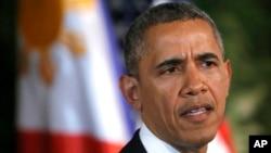 4月28日奥巴马总统在与菲律宾总统举行的联合记者会上谈到美国对俄罗斯的制裁
