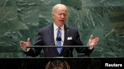 ប្រធានាធិបតីសហរដ្ឋអាមេរិកលោក Joe Biden ថ្លែងសុន្ទរកថាទៅកាន់សម័យប្រជុំលើកទី៧៦ នៃមហាសន្និបាតអង្គការសហប្រជាជាតិនៅថ្ងៃអង្គារ ទី២១ ខែកញ្ញា ឆ្នាំ២០២១ នៅទីក្រុងញូវយ៉ក។