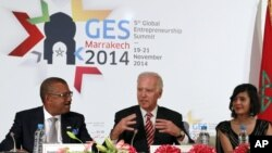 U.S. Vice President Joe Biden, center, addresses entrepreneurs from the Middle East during the opening session of the Global Entrepreneurship Summit in Marrakech, Morocco, Nov. 20, 2014.