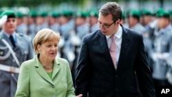 Nemačka kancelarka Angela Merkel i premijer Srbije Aleksandar Vučić u Berlinu, 11. juna 2014.