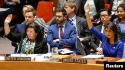 Bà Nikki Haley (phải) giơ tay bỏ phiếu chống một dự thảo nghị quyết của Nga, lên án việc oanh kích vào Syria hôm 14/4.