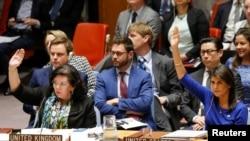 """在联合国安理会,美国驻联合国大使黑利和英国驻联合国大使皮尔斯投票反对俄罗斯提出的一项谴责美国及其盟国""""侵略""""叙利亚的决议(2018年4月14日)"""