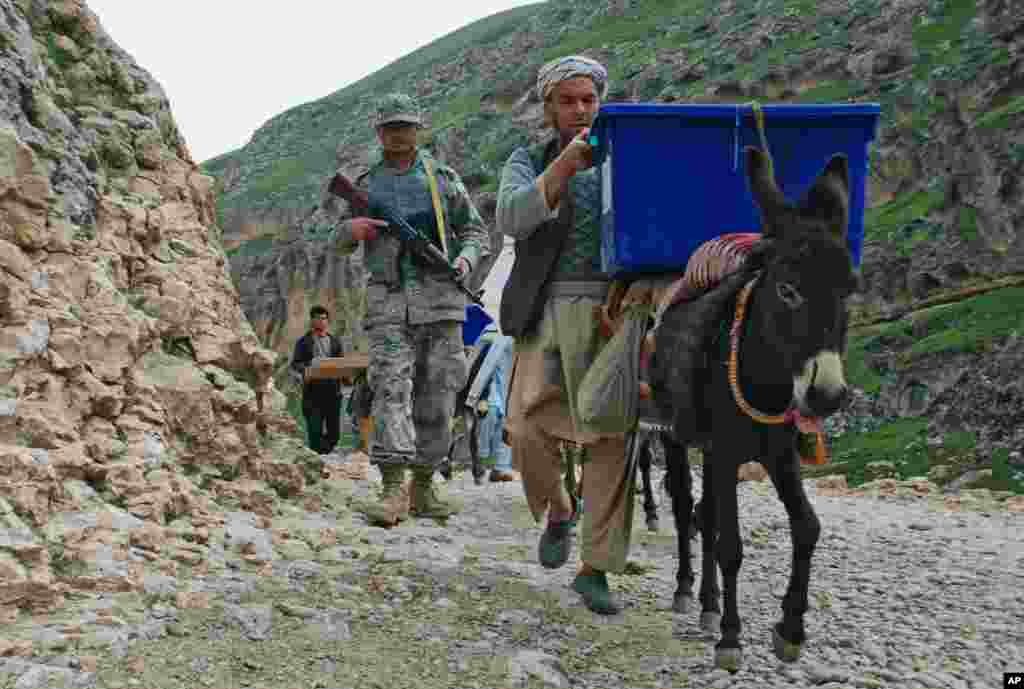 Afghan election workers use donkeys to transport ballot boxes and election materials to polling stations as they walk through Mazar-i-Sharif to Kishindih district in Balkh province, Afghanistan. Elections will take place on April 5, 2014.