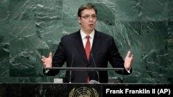 Premijer Srbije Aleksandar Vučić prilikom današnjeg obraćanja Generalnoj skupštini UN