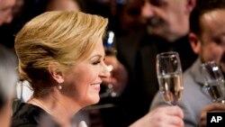 Bà Kolinda Grabar-Kitarivic mừng chiến thắng trong cuộc bầu cử tổng thống, Zagreb, Croatia 11/1/15