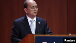 Burma's President Thein Sein speaks at the Asia Society in New York, September 27, 2012.