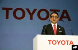 Toyota President and CEO Akio Toyoda, seen in this 2015 photo, told reporters at a New Year's gathering Thursday that the company wants to grow employment in whatever countries it operates manufacturing plants, including the U.S.