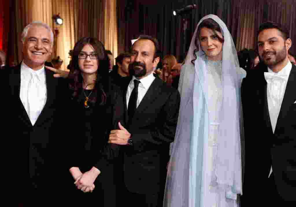 "Director of Photography Mahmoud Kalari, actress Sarina Farhadi, her father, director Asghar Farhadi; actress Leyla Hatami and actor Peyman Moadi (L-R), from the film ""A Separation,"" which won best foreign film. (Reuters)"