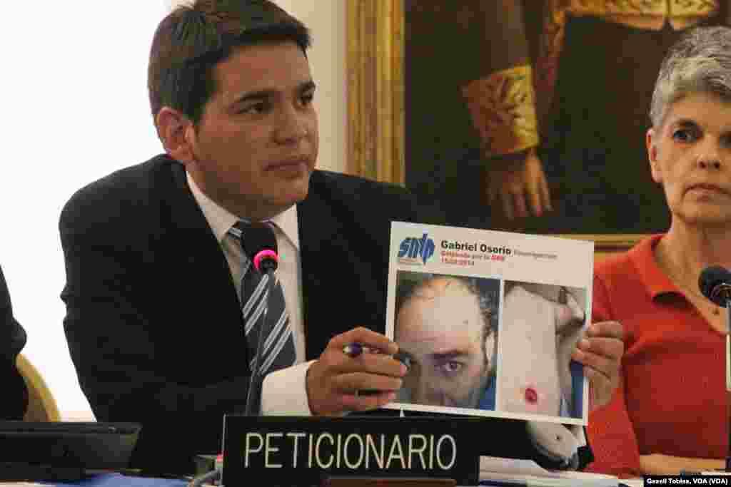 Marco Ruiz, líder del Sindicato de Trabajadores de la Prensa en Venezuela, presentó durante la sesión una serie de imágenes que ilustran la violencia de la policía de Venezuela sobre los periodistas que ejercen en el país sudamericano.