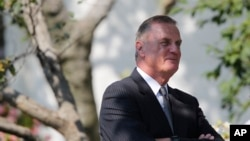 FILE - Then-national security adviser Gen. James L. Jones in the Rose Garden of the White House in Washington, Sept. 22, 2010. Jones is now executive chairman emeritus of the Atlantic Council.