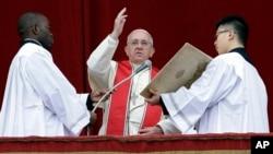羅馬天主教宗方濟各在首次聖誕致辭中呼籲在南蘇丹等世界戰亂地區實現和平