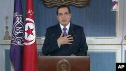 Le président tunisien Zine El Abidine Ben Ali lors de son discours du 13 janvier 2011.