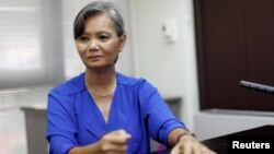 Mu Sochua, Deputy President of the Cambodia National Rescue Party (CNRP) listens during an interview with Reuters at an undisclosed location, Oct. 4, 2017.