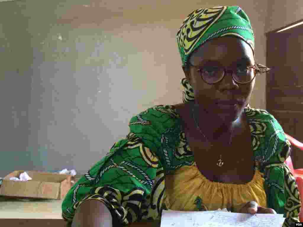 Jamesetta Munah Cooper works at the YMCA in Ganta, Liberia, April 7, 2014. (Benno Muchler/VOA)
