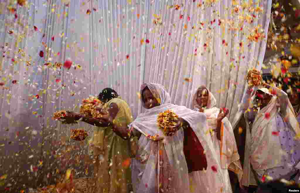 Widows throw flowers into the air during a Holi celebration, March 24, 2013.