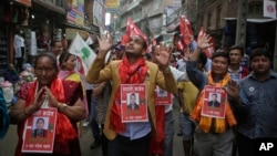 Candidates of Nepali Congress Party march during an election campaign event in Kathmandu, Nepal, May 11, 2017. Voters go to the polls this weekend to choose local representatives for the first time since 1997.