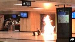 Момент взрыва на Центральном вокзале Брюсселя. Бельгия. 20 июня 2017 г.