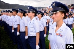 Cadet 4th Class Chelsea Renfro stands at attention during the Class of 2014 Acceptance Day ceremony at the Air Force Academy, Aug. 4, 2010. (Mike Kaplan/U.S. Air Force)