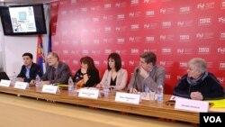 Predstavljanje Poverelje o radnim uslovima novinara, koju je pripremila Evropska federacija novinara, u UNS-ovom Press centru, 12. februara 2019.
