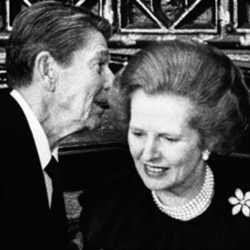 President Reagan speaks to Britain's Prime Minister Margaret Thatcher in London on June 7, 1984