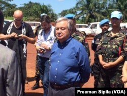 FILE - U.N. Secretary-General Antonio Guterres is surrounded by peacekeepers in Bangassou, Central African Republic, Oct. 25, 2017.