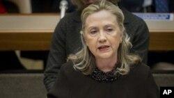 美国国务卿希拉里·克林顿12月7号在日内瓦发表关于生化武器的讲话