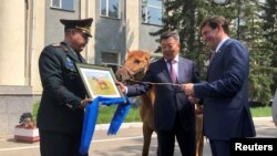 U.S. Secretary of Defense Mark Esper is gifted a horse in Ulan Bator, Mongolia August 8, 2019.