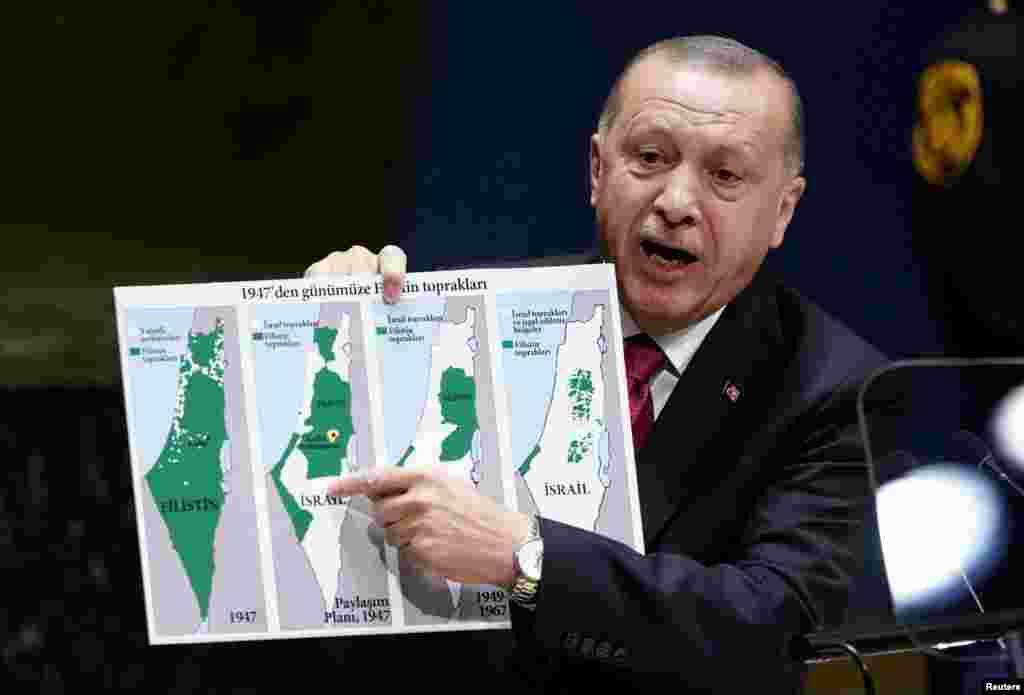 Türkiyə prezidenti Rəcəp Təyyib Ərdoğan BMT-nin Baş Assambleyasında çıxış edir
