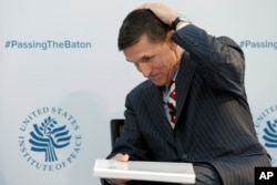 "Michael Flynn, White House national security adviser, attends ""2017 Passing the Baton"" conference at the U.S. Institute of Peace in Washington, Jan. 10, 2017."